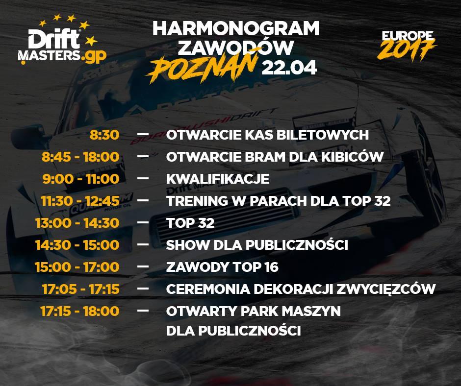 Harmonogram 22 kwietnia 2017 Tor Poznań