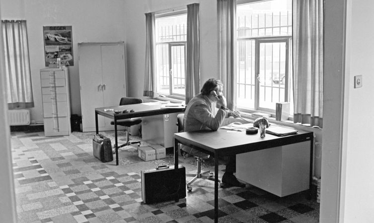 Early day of TTE. Ove Andersson's original office in Waterloo, Brussels. Oct 1975.